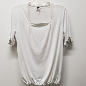 Anne Klein Pullover Shortsleeve Blouse Size S